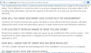 WEL Network screen grab showing claim that there is a government requirement for meter replacement June 17 2014
