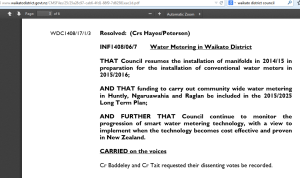 Waikato District Council vote on water meters and smart water meters